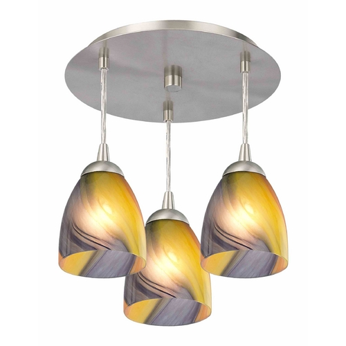 Design Classics Lighting 3-Light Semi-Flush Ceiling Light with Bell Art Glass - Nickel Finish 579-09 GL1015MB