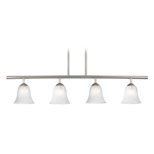 Design Classics Lighting Modern Island Light with Alabaster Glass in Satin Nickel Finish 718-09 GL9222-ALB