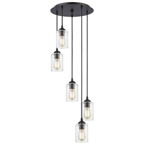 Design Classics Lighting Bronze Multi-Light Pendant with Clear Cylinder Glass and 5-Lights 580-220 GL1040C