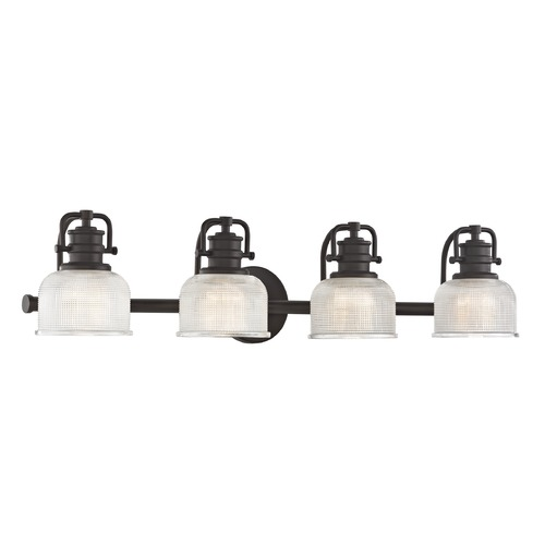 Design Classics Lighting Prismatic Glass 4-Light Bathroom Light in Bronze Finish JJ 1794-220/FC