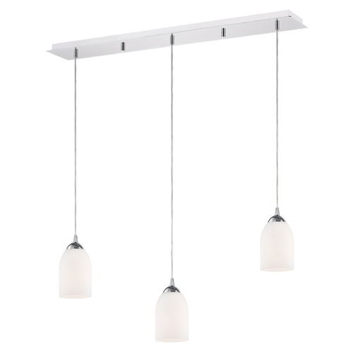 Design Classics Lighting 36-Inch Linear Pendant with 3-Lights in Chrome Finish with Shiny Opal White Glass 5833-26 GL1024D