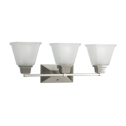 Progress Lighting Progress Bathroom Light with White Glass in Brushed Nickel Finish P2743-09