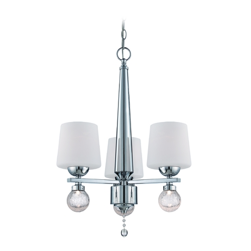 Designers Fountain Lighting Chandelier with White Glass in Chrome Finish LED85083-CH