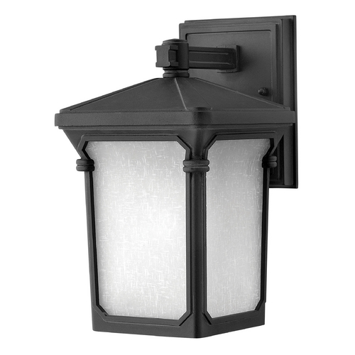 Hinkley Lighting LED Outdoor Wall Light with White Glass in Museum Black Finish 1356MB-LED