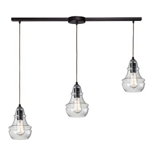 Elk Lighting Multi-Light Pendant Light with Clear Glass and 3-Lights 60047-3L