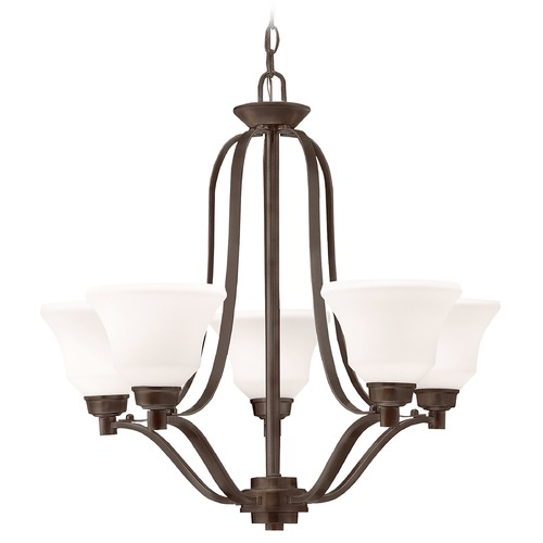 Kichler Lighting Kichler Chandelier with White Glass in Olde Bronze Finish 1783OZ