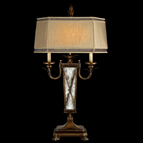 Fine Art Lamps Fine Art Lamps Newport Burnished Gold with Silver Highlights Table Lamp with Hexagon Shade 549410ST