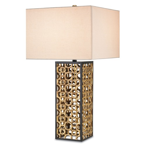 Currey and Company Lighting Currey and Company Cusco Chinois Antique Gold Leaf/black Table Lamp with Rectangle Shade 6703