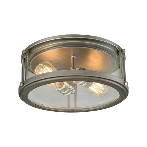 Elk Lighting Elk Lighting Coby Weathered Zinc, Polished Nickel Flushmount Light 11880/2