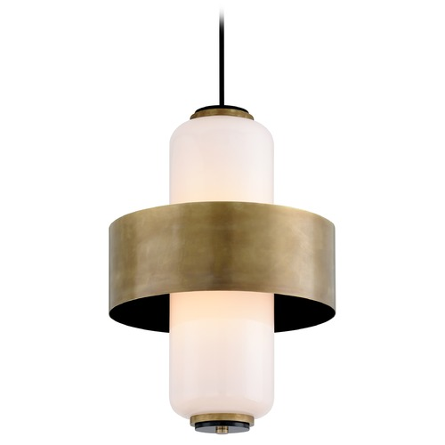 Corbett Lighting Corbett Lighting Melrose Vintage Brass Pendant Light with Cylindrical Shade 275-46