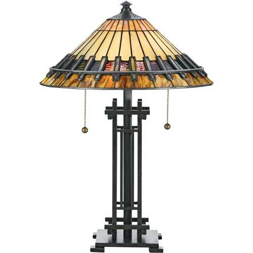 Quoizel Lighting Table Lamp with Art Glass in Bronze Patina Finish TF489T