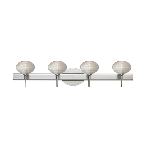 Besa Lighting Modern Bathroom Light with Silver Glass in Satin Nickel Finish 4SW-5612GL-SN