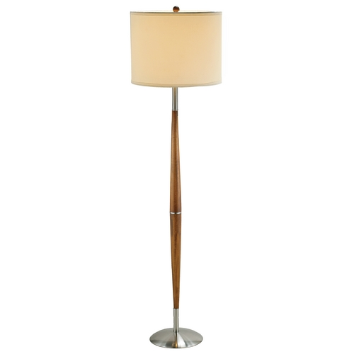 Adesso Home Lighting Modern Floor Lamp with White Shade in Dark Maple Finish 3341-13