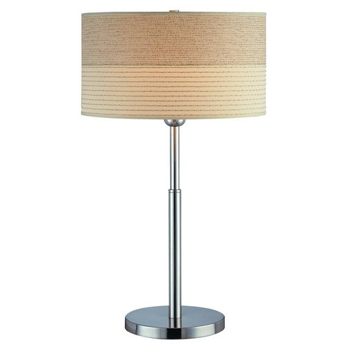 Lite Source Lighting Modern Table Lamp with Beige / Cream Shade in Polished Steel Finish LSF-20751PS