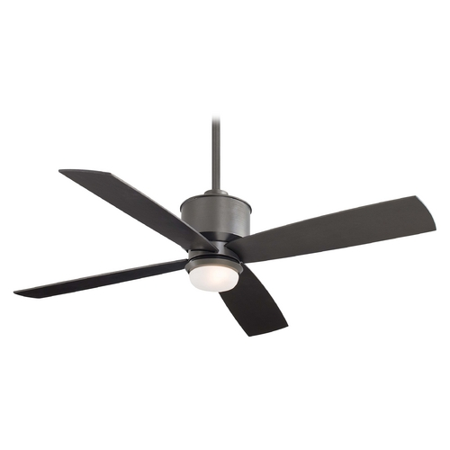 Minka Aire 52-Inch Modern Ceiling Fan with Light with White Glass in Smoked Iron Finish F734-SI