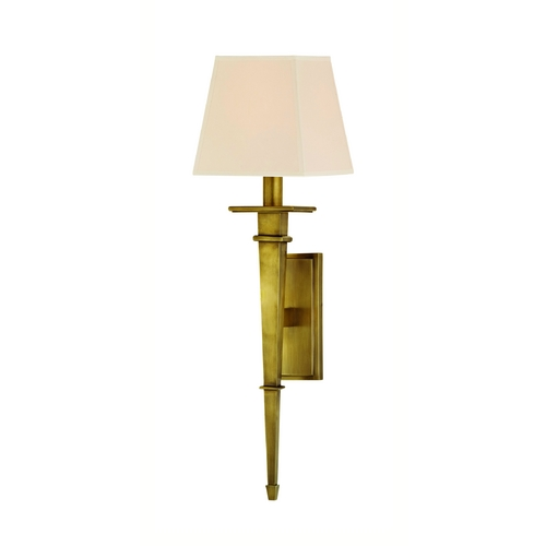Hudson Valley Lighting Sconce Wall Light with White Shade in Aged Brass Finish 230-AGB-WS