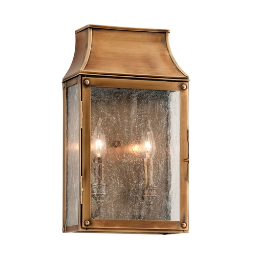 Troy Lighting Outdoor Wall Light with Clear Glass in Heirloom Brass Finish B3422