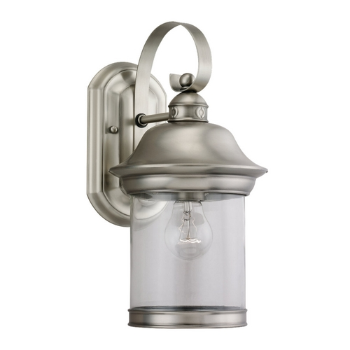 Sea Gull Lighting Outdoor Wall Light with Clear Glass in Antique Brushed Nickel Finish 88081-965