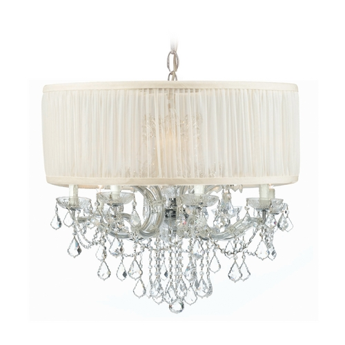 Crystorama Lighting Crystal Pendant with White Shade in Polished Chrome Finish 4489-CH-SAW-CLS