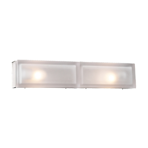 PLC Lighting Modern Bathroom Light with White Glass in Satin Nickel Finish 6578 SN