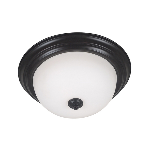 Kenroy Home Lighting Modern Flushmount Light with White Glass in Oil Rubbed Bronze Finish 80367ORB