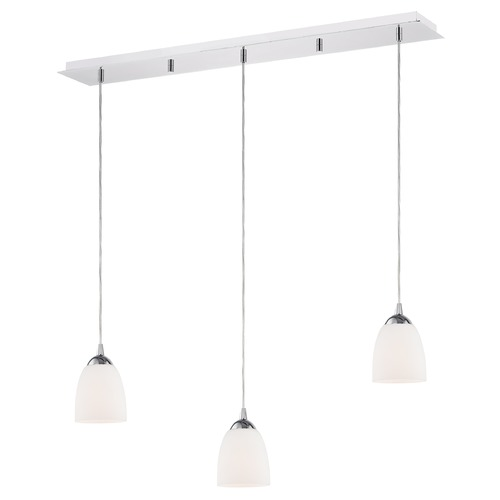 Design Classics Lighting 36-Inch Linear Pendant with 3-Lights in Chrome Finish with Shiny Opal White Glass 5833-26 GL1024MB