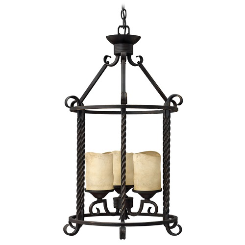Hinkley Lighting Pendant Light with Brown Glass in Olde Black Finish 3504OL