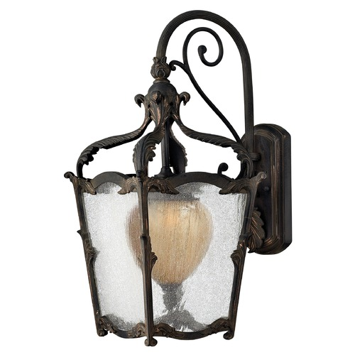 Hinkley Lighting Seeded Glass Outdoor Wall Light Iron Hinkley Lighting 1424AI