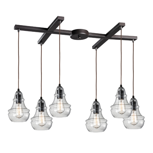 Elk Lighting Multi-Light Pendant Light with Clear Glass and 6-Lights 60047-6