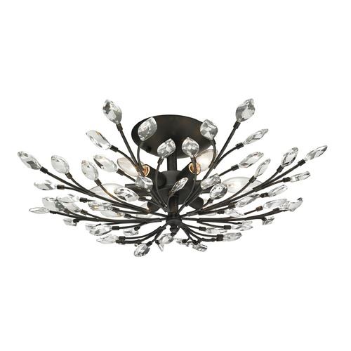 Elk Lighting Elk Lighting Crystal Branches Burnt Bronze Semi-Flushmount Light 11772/6