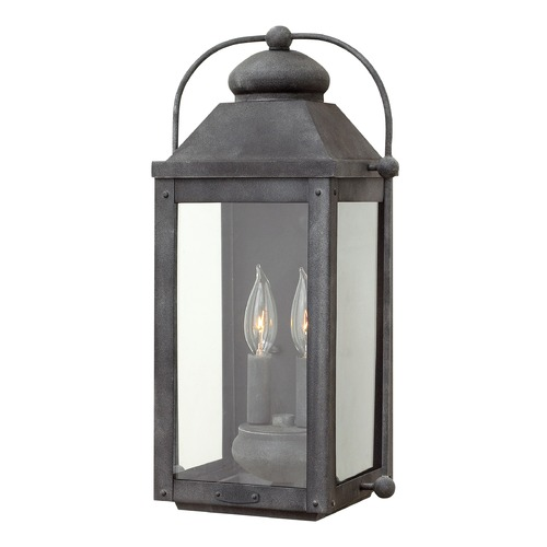 Hinkley Lighting Colonial LED Outdoor Wall Light Aged Zinc by Hinkley Lighting 1854DZ-LL