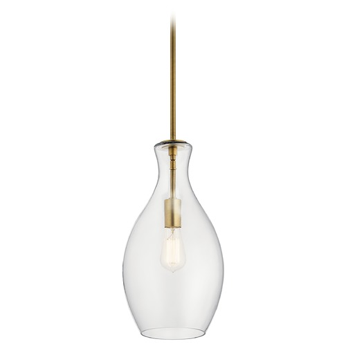 Kichler Lighting Everly Small Natural Brass 1-Light Pendant with Clear Glass 42047NBR