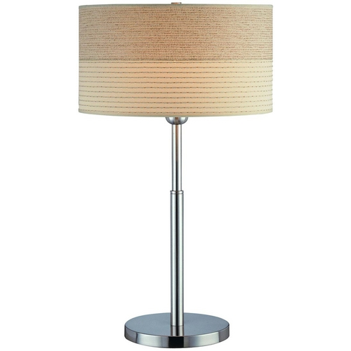 Lite Source Lighting Table Lamp with Beige / Cream Shade in Polished Steel Finish LS-20751PS