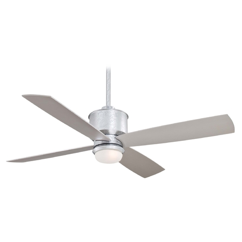 Minka Aire Modern Ceiling Fan with Light with White Glass in Glavanized Finish F734-GL