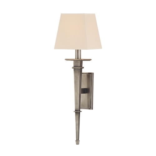 Hudson Valley Lighting Sconce Wall Light with Beige / Cream Paper Shade in Aged Silver Finish 230-AS