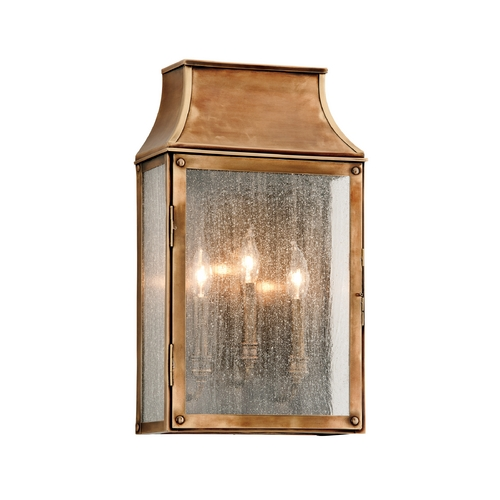 Troy Lighting Outdoor Wall Light with Clear Glass in Heirloom Brass Finish B3423