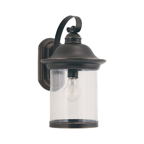 Sea Gull Lighting Outdoor Wall Light with Clear Glass in Antique Bronze Finish 88082-71