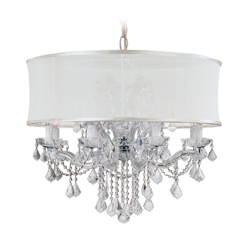 Crystorama Lighting Crystal Chandelier with White Shade in Polished Chrome Finish 4489-CH-SMW-CLM