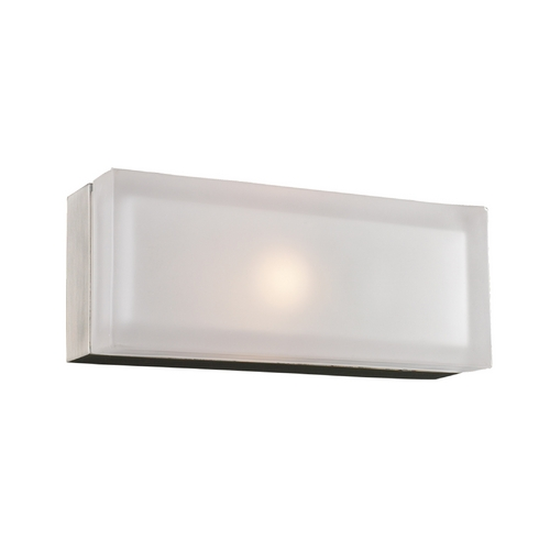 PLC Lighting Modern Sconce Wall Light with White Glass in Satin Nickel Finish 6577 SN