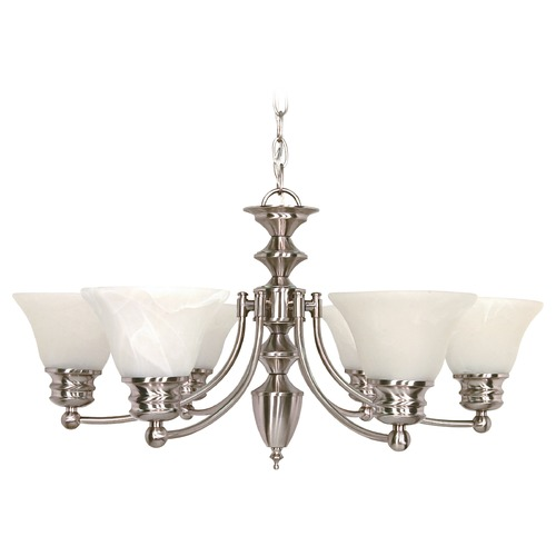 Nuvo Lighting Chandelier with Alabaster Glass in Brushed Nickel Finish 60/356