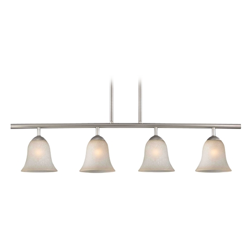 Design Classics Lighting Modern Island Light with Brown Glass in Satin Nickel Finish 718-09 GL9222-CAR
