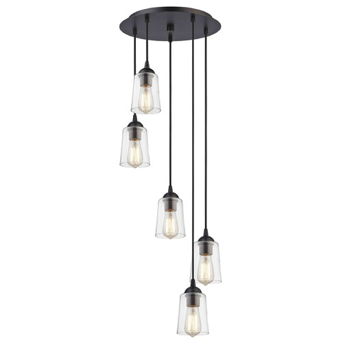 Design Classics Lighting Bronze Multi-Light Pendant with Clear Cone Glass and 5-Lights 580-220 GL1027-CLR