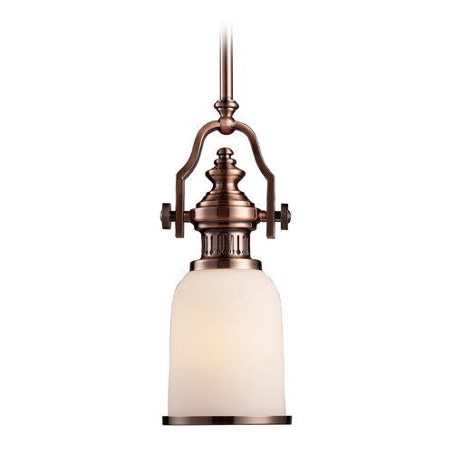 Elk Lighting Elk Lighting Chadwick Antique Copper LED Mini-Pendant Light with Bowl / Dome Shade 66142-1-LED