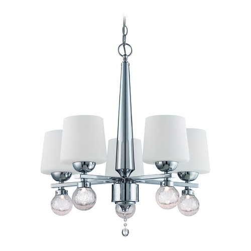 Designers Fountain Lighting Chandelier with White Glass in Chrome Finish LED85085-CH