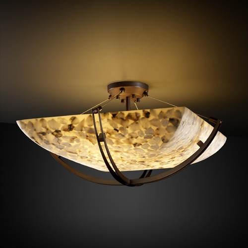 Justice Design Group Justice Design Group Alabaster Rocks! Collection Semi-Flushmount Light ALR-9717-25-DBRZ