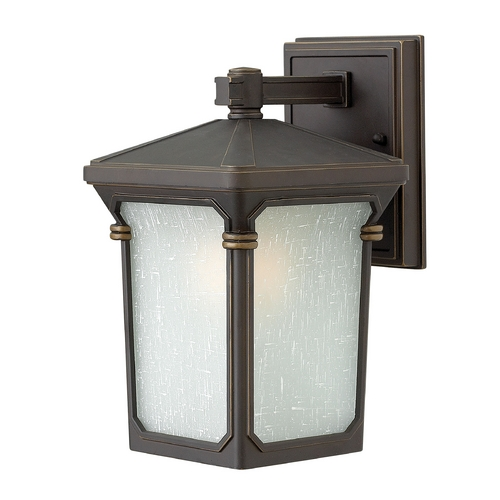 Hinkley Lighting Outdoor Wall Light with White Glass in Oil Rubbed Bronze Finish 1356OZ-GU24