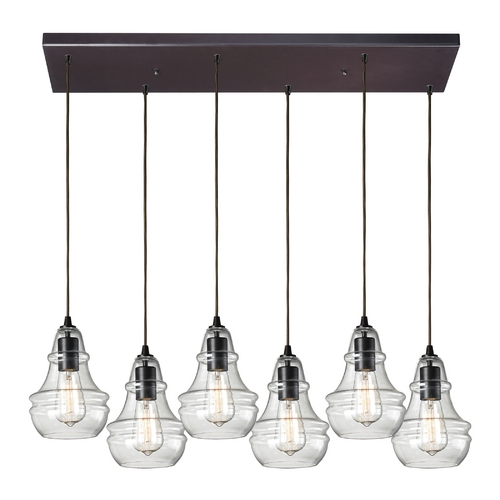 Elk Lighting Multi-Light Pendant Light with Clear Glass and 6-Lights 60047-6RC
