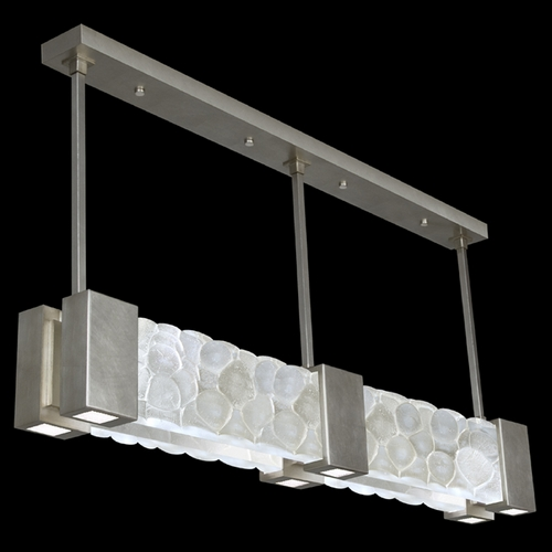 Fine Art Lamps Fine Art Lamps Crystal Bakehouse Silver Leaf Island Light with Rectangle Shade 825040-34ST