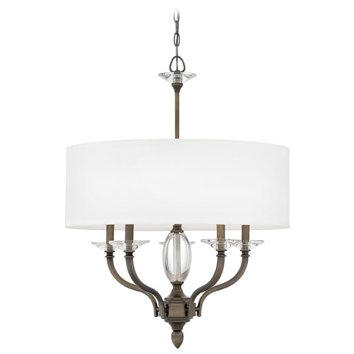 Hinkley Hinkley Surrey 5-Light Oiled Bronze Chandelier with White Fabric Shades 4005OR