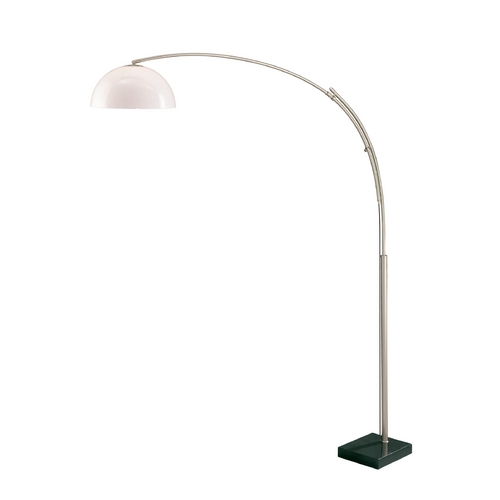 Lite Source Lighting Modern Arc Lamp with White in Polished Steel Finish LS-8652PS/WHT